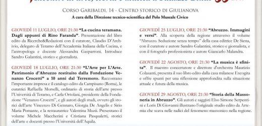 """Giulianova: la quarta edizione del """"Giovedì in terrazza"""" incontri di arte, storia e musica"""